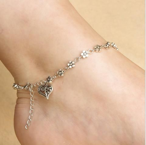 Heart and Flowers Anklet