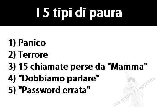 I 5 TIPI DI PAURA