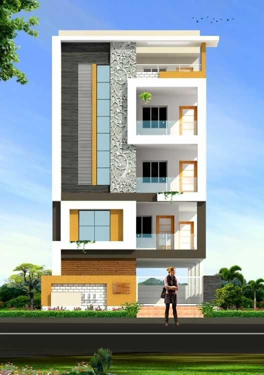 7 best house elevation design indian images on pinterest for Narrow floor plans with front elevation