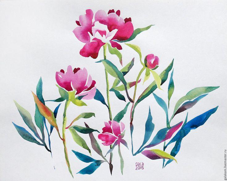 Купить Пионы. Две акварели. - цветы, цветок, цветочная композиция, цветочные мотивы, цветочки, Живопись