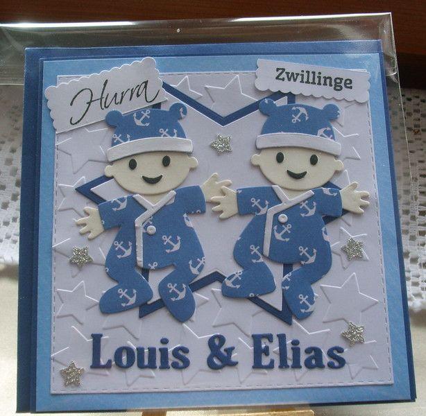 Glückwunschkarten - Glückwunschkarte zur Geburt / Zwillinge - ein Designerstück von Wollzottel bei DaWanda