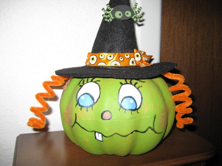 Painted Mini Pumpkin Halloween Pinterest