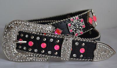 Nuevo Western Caliente Rosa Negro Estrás Cruz Vaquera Cuero Hebilla Cinturón Bling M