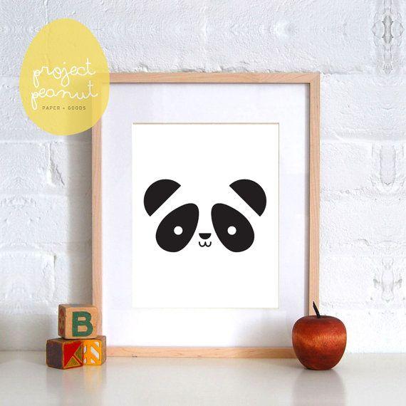 Panda Nursery Wall Art Printable, Wall Decor for Kids Nursery or Playroom. Digital Printable, Nursery Poster, Black and White Art.  WHAT DO YOU