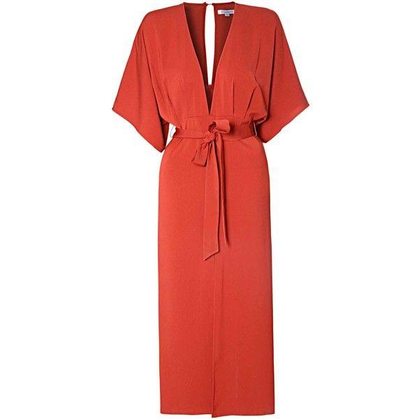 Rust Kimono Style Maxi Dress ($67) ❤ liked on Polyvore featuring dresses, orange, maxi kimono, red kimono, keyhole dress, red orange dress and keyhole maxi dress