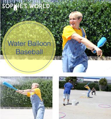 """Water Balloon Baseball- No matter how many runs are scored, everyone's a winner in this """"beat the heat"""" game on sophie-world.com #game #baseball #waterballoon"""