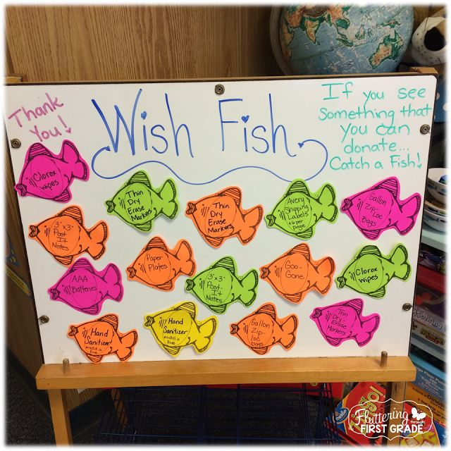Fish themed class donation request board