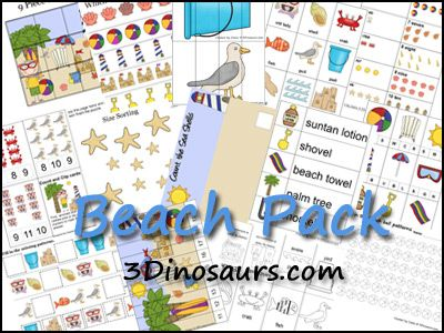 Free Beach Pack by 3Dinosaurs.com. Contains activities for ages 2 to 7. Over 40 pages of activities.