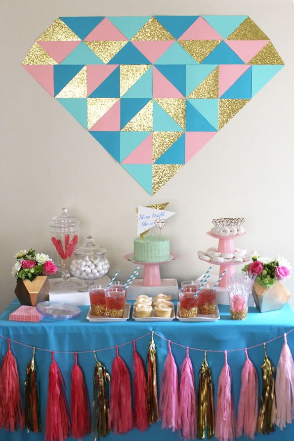 Shine Bright Like a Diamond. Sparkle and shine with this fun bridal shower!  #bridalshower #diamond
