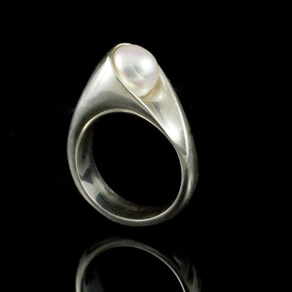 Wrapped White Pearl Sterling Silver Ring