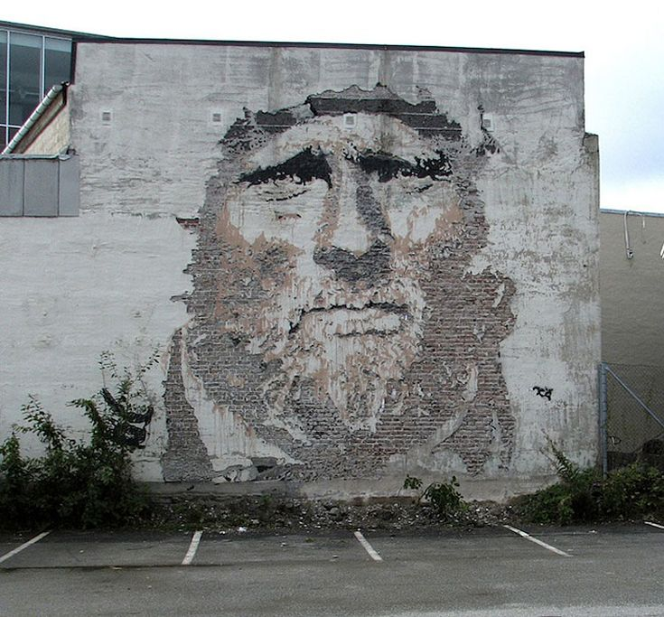 Portuguese artist, Alexandre Farto aka Vhils, takes street art to a whole new level with his deconstructed street portraits. The artist creates striking multi-textural faces in decaying brick walls by meticulously chipping away at the wall's weathered layers.                        Photos courtesy of Vhils Via MyModernMet