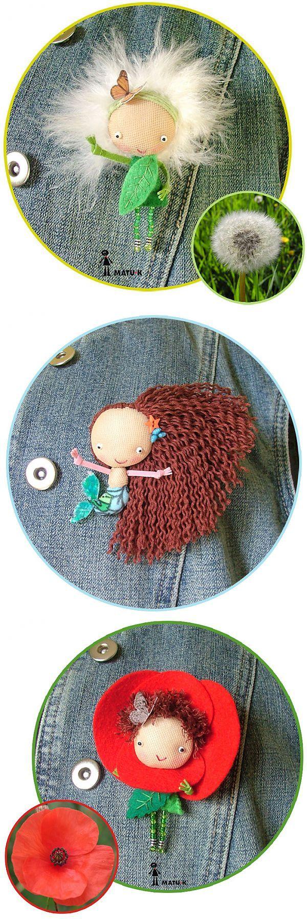 Забавные куколки-брошки испанской мастерицы matu-k.