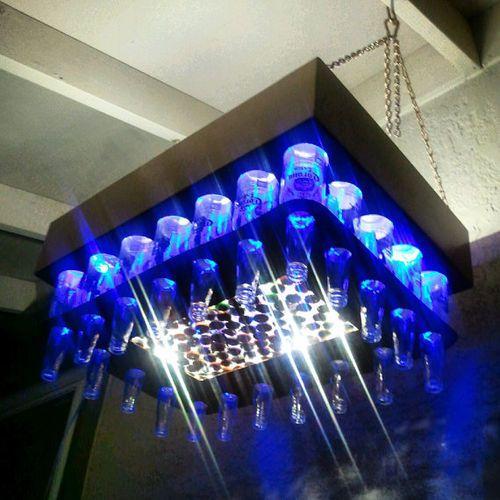 17 best images about blue bottle crafts on pinterest for How to make a bottle chandelier