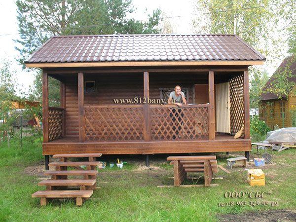 небольшая баня с террасой в Ленобласти - фото