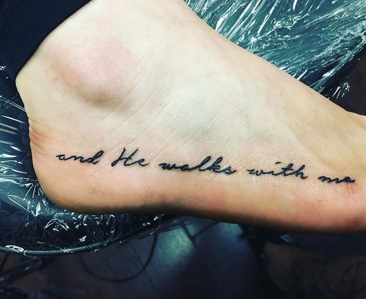 """and He walks with me"" in loving memory of Doris Sanford  #smalltatt #foottattoo #love#inlovingmemory #tattoos"