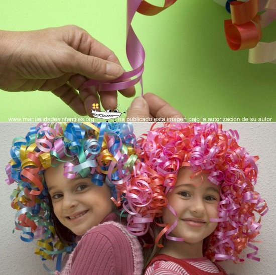 how to make a ribbon wig > perfect! if in yellow. >translate page (google translator) from Spanish to English. > Glue sailor cap on & add elastic chin strap to hold (clear) >only snip some pieces in half lengthwise like shown on coloured wig in photo. (note the split into 3 lengths of the pink one)