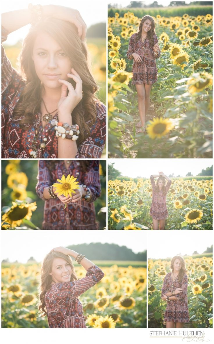 senior girl pose | senior girl sunflower field | northern illinois senior photographer | © stephanie hulthen photography