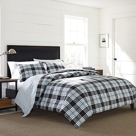 Styled in plaid, the Eddie Bauer Edgewood Plaid Flannel Duvet Cover Set is an updated take on rustic lodge style. The neutral blend of beige and pine green on the comforter and shams bring a classic feel to your bedroom in cooler months.