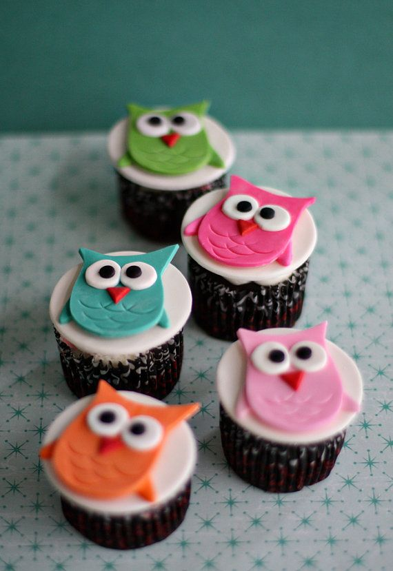 Owl Fondant Toppers for Cupcakes Cookies or by parkersflourpatch, $60.00