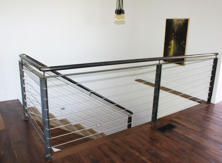 Stair, : Comely Home Interior Design Ideas Using Wire Staircase Railing  Along With Black Metal Handrail And Mahogany Wood Flooring Ideas