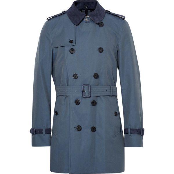 Burberry Kensington Mid-Length Suede-Trimmed Cotton-Gabardine Trench... (130.405 RUB) ❤ liked on Polyvore featuring men's fashion, men's clothing, men's outerwear, men's coats, mens fur collar coat, mens blue sport coat, mens blue trench coat, men's cotton sport coat and burberry mens coat