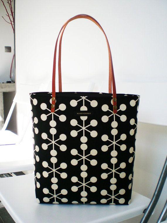 Spring Handbag Tote / Leather straps