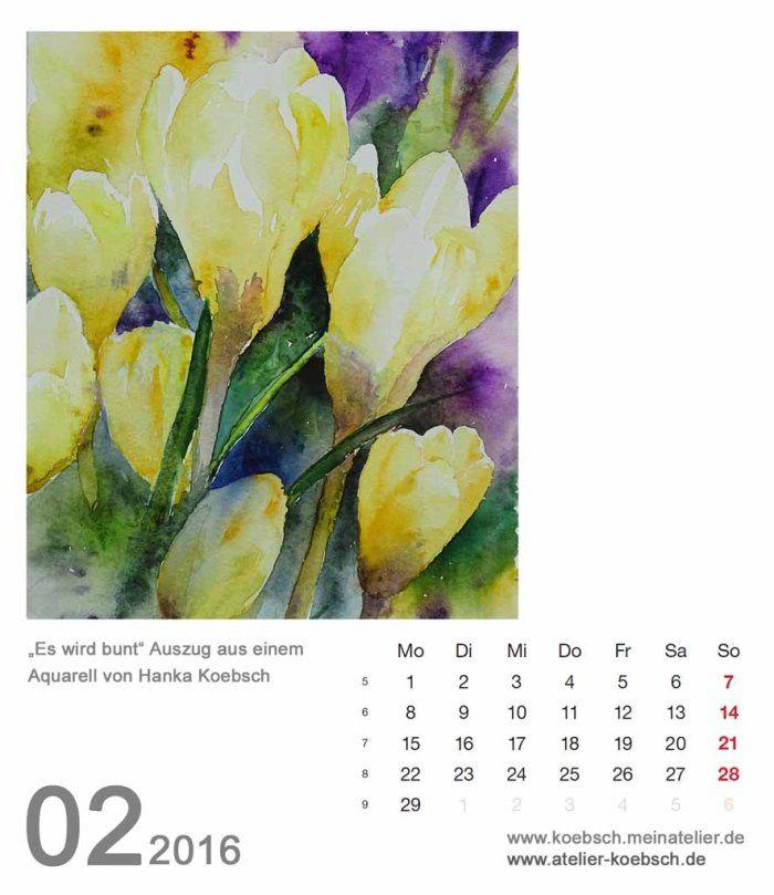Watercolors by Hanka & Frank Koebsch ---- Kalenderblatt Februar 2016 | Bilder, Aquarelle vom Meer & mehr - von Frank Koebsch
