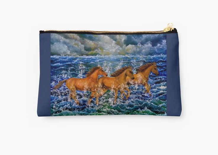 Studio Pouch,  cool,beautiful,fancy,unique,trendy,artistic,awesome,fahionable,unusual,accessories,for sale,design,items,products,gifts,presents,ideas,carry all pouch,blue,horses,sea,waves,redbubble