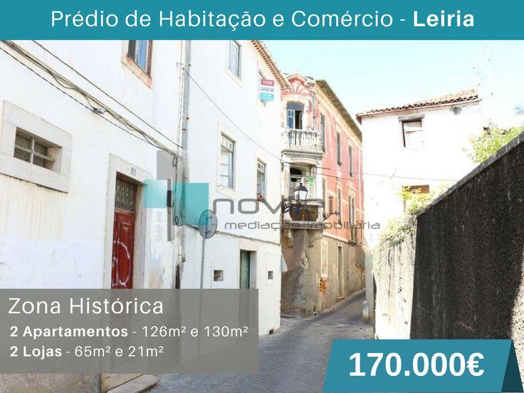 Prédio de habitação e comercio sito na zona histórica de Leiria com quatro fracções independentes. Rés-do-chão com duas lojas de 65m2 e 21m2, 1º andar para habitação c/ 126m2 e 2º Andar e ultimo, para habitação com 130m2. #predio #leiria #novilei #imoveis #imobiliaria #zonahistorica #portugal #venda #investimento #imobiliaria