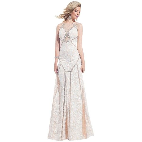 Pre-owned Rachel Allan White/ Nude 6883 Dress ($259) ❤ liked on Polyvore featuring dresses, see through dress, sparkly cocktail dresses, white plunge dress, cut out dress and white cocktail dresses