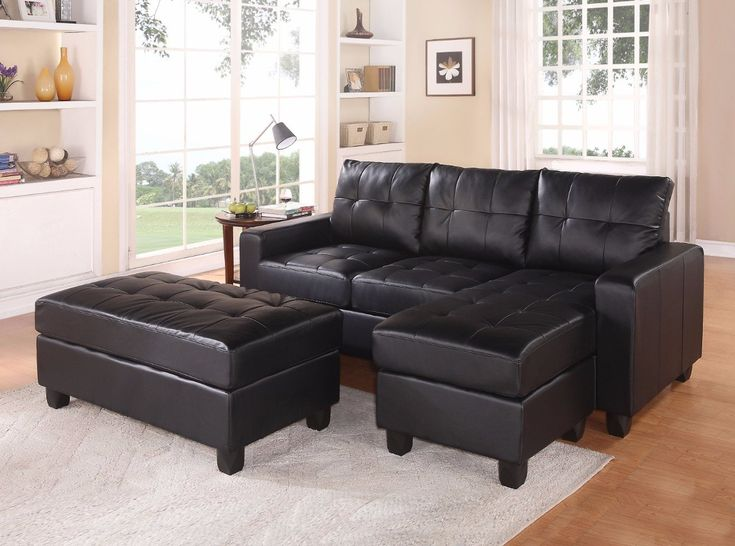 Modish Sectional Sofa With Ottoman, 3 Piece Set, Black