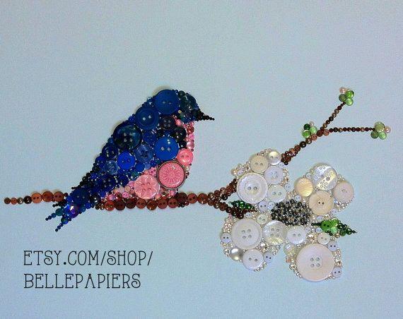 8x10 Blue Bird Button Art Button Bluebird Art by BellePapiers, $154.00