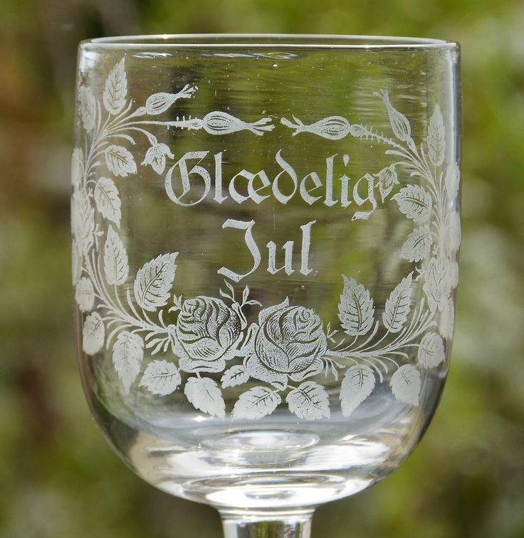 Antique c1900 KASTRUP Glaedelig Jul MERRY CHRISTMAS Etched FLORAL Wine GLASS
