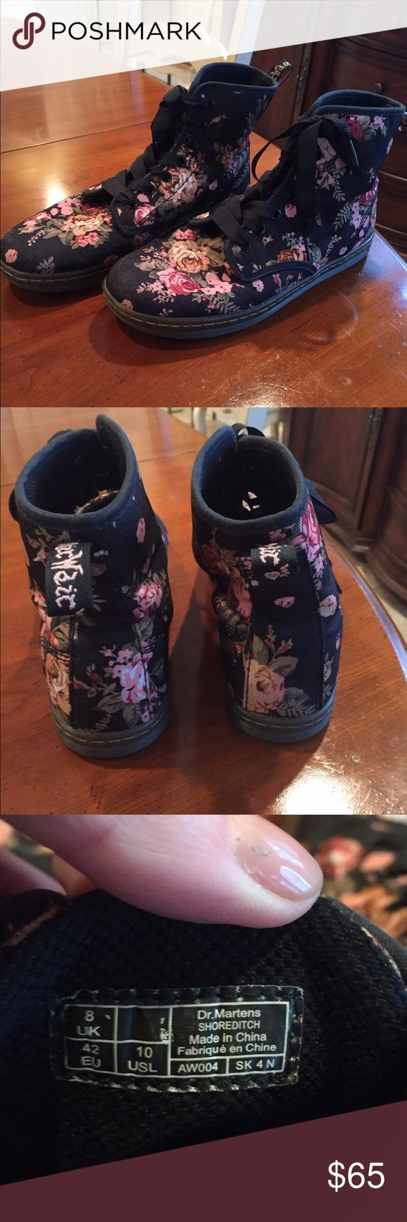 Dr Martens Canvas Floral Shoreditch Boots Great Shape- no tears or stains. Not really any wear to soles either! Black background with pink,green and mauve like red.(see closeup pic). Lightweight and comfy. Size 10 ladies. Black ribbon laces- 7 eyelets. Dr. Martens Shoes Ankle Boots & Booties