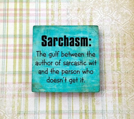 "Funny Sarcasm definition play on words 2"" ceramic tile magnet perfect for Refrigerators, Fridges, Dorm Decor, Cubicle Decor. Magnet Boards"