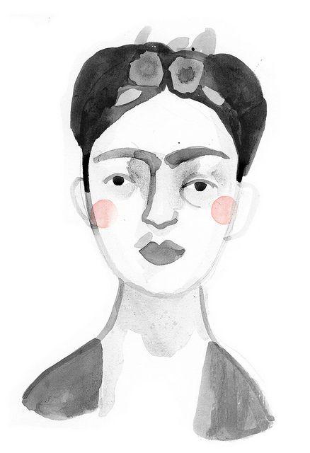 Watercolor portrait of Frida Kahlo by Claire Owen.