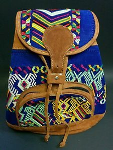 Huipil Fabric leather handmade backpack