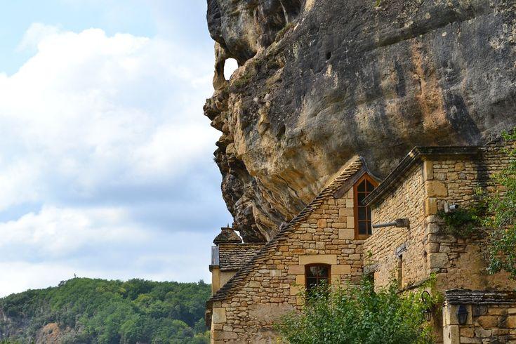 崖, 家, キャスリングGageacの, 中間年齢, ドルドーニュ県, フランス, アキテーヌ