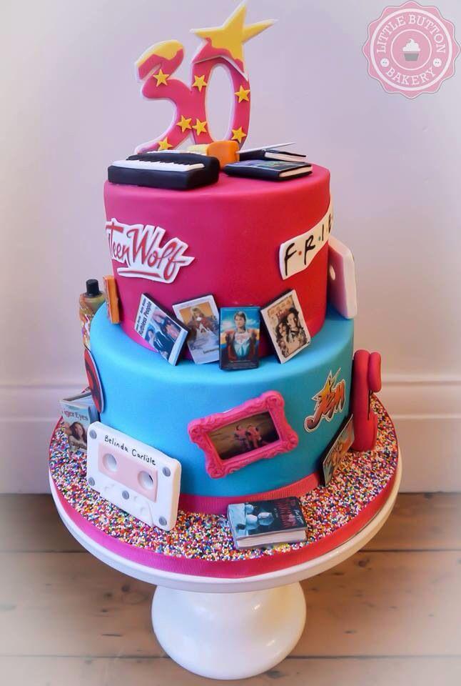 80's & 90's themed birthday cake