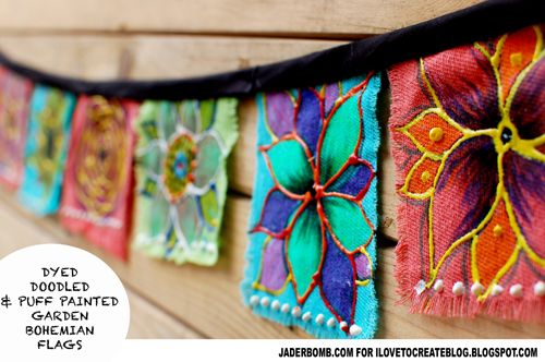 DIY Bohemian Garden Flags - this would go great over our open patio to give it a walls and ceiling feel.