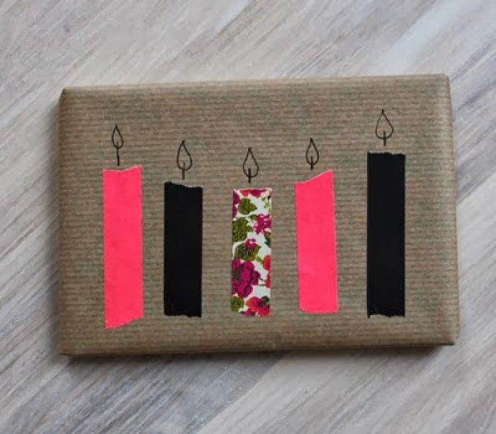 Einfache Geschenkverpackung verschönern mit Masking Tape. Noch mehr Ideen gibt es auf www.Spaaz.de