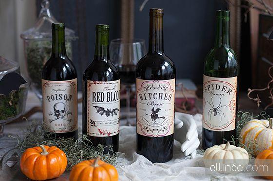 Free Printable Halloween Wine Bottle Labels {Ellinee}