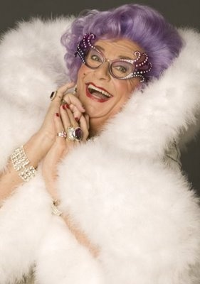 Dame Edna, oh how I love her.  Great example.