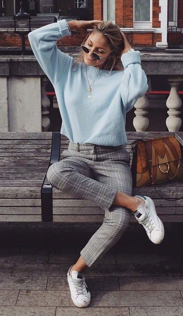 f22b7c8862f comfy outfit   blue pullover + bag + white sneakers + grey pants  Sneakers