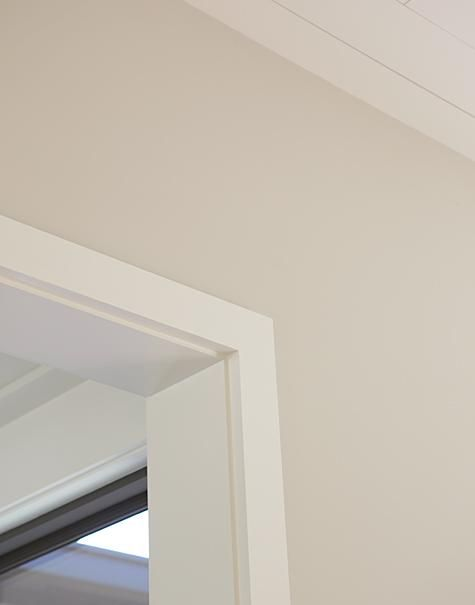 for those of you looking for a warm off white color.  Wall is Benjamin Moore Overcast and the trim is BM White Chocolate.