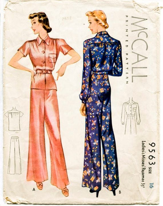 Fashion sure has changed, hasn't it? -  #1940s, Elegant pajamas, notice the heels.