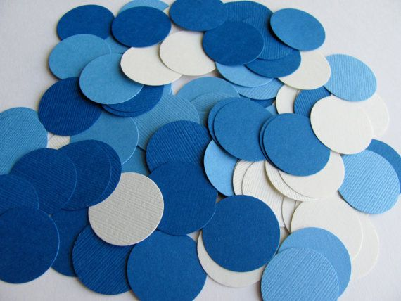 Little Boy Blue Color Palette  Circle Confetti/Embellishments - Light Blue, Dark Blue and White #babyshower