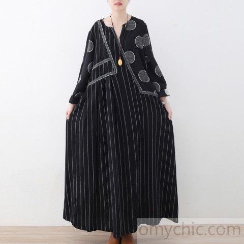 New black striped linen dresses plus size patchwork prints traveling dress casua…