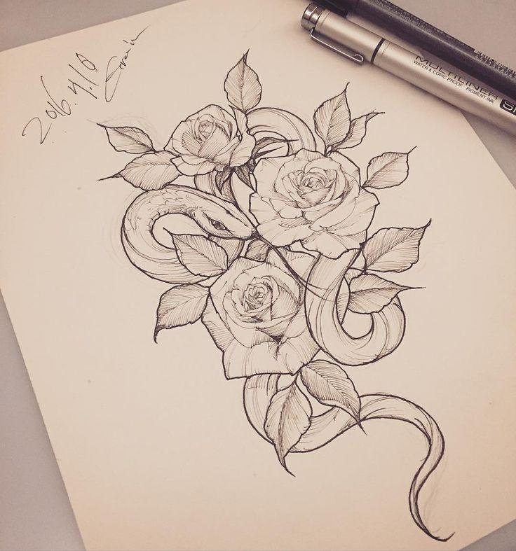 #snake#snaketattoo#rose#rosetattoo#flowe#flowertattoo#linework#tattoo_grain#장미꽃#장미꽃그림#뱀#뱀타투#라인타투#꽃타투