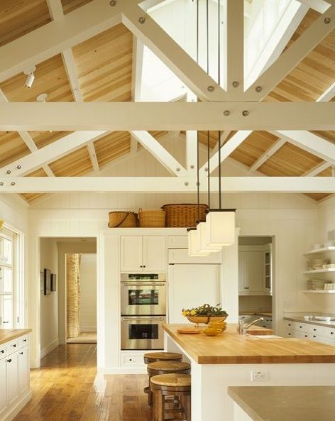 Farmhouse Kitchen ~ Love the light and the high ceiling with open beams. ᘡղbᘠ